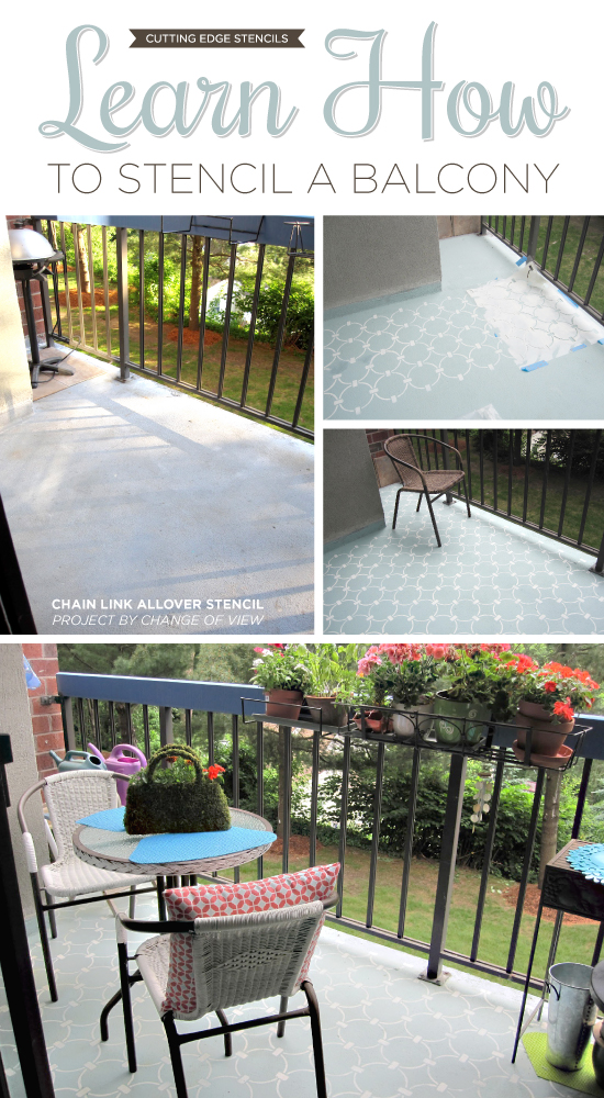 Cutting Edge Stencils shares a DIY painted and stenciled concrete balcony with the Chain Link Allover Stencil. http://www.cuttingedgestencils.com/link-stencil-pattern.html