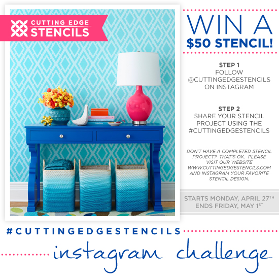 Cutting Edge Stencils is hosting an Instagram giveaway. Share your stencil project or favorite stencil to win a $50 Cutting Edge Stencils gift card. http://www.cuttingedgestencils.com/wall-stencils.html