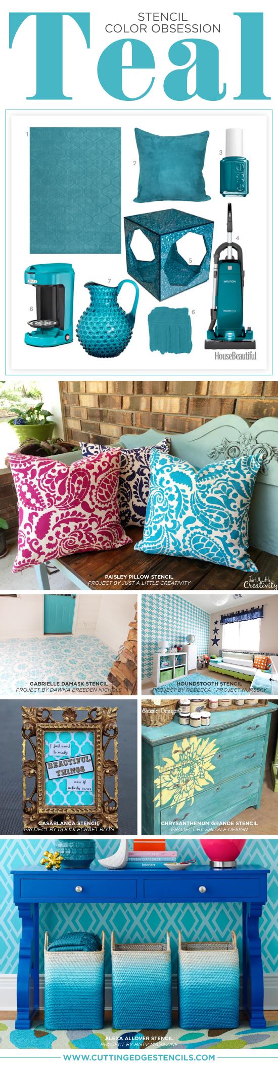 Cutting Edge Stencils shares DIY stenciled teal home decor and room ideas. http://www.cuttingedgestencils.com/wall-stencils-stencil-designs.html