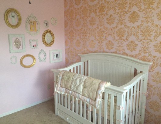 A Diy Stenciled Nursery Accent Wall Using The Gabrielle Damask Stencil Http