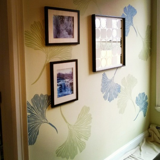 A DIY stenciled accent wall using the Chinese Ginkgo Stencil by Kim Myles. http://www.cuttingedgestencils.com/ginkgo-stencil-kim-myles.html