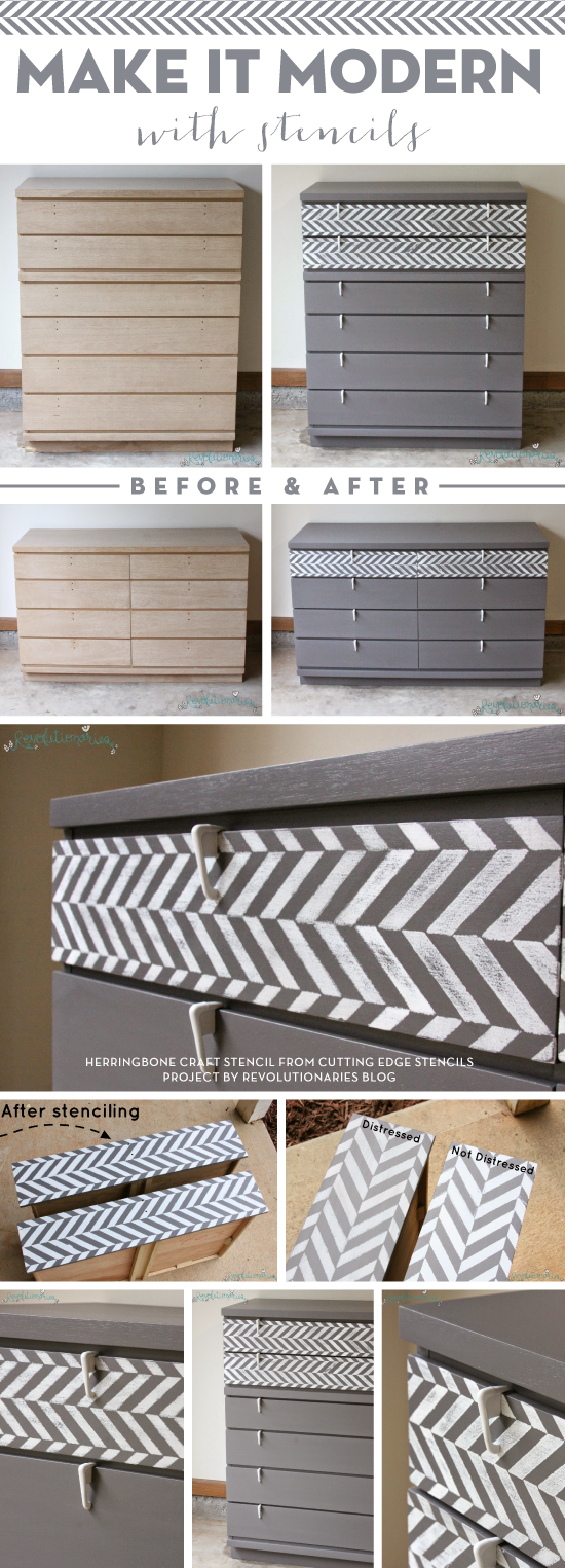 Cutting Edge Stencils shares a painted and stenciled dresser using the Herringbone Craft Stencil. http://www.cuttingedgestencils.com/craft-stencil-herringbone.html