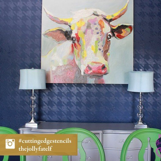 A DIY stenciled blue accent wall using the Houndstooth allover Stencil. http://www.cuttingedgestencils.com/wall_stencil_houndstooth.html