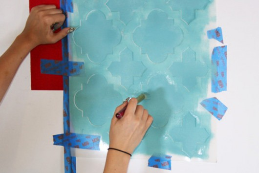 Stenciling the Moroccan Tiles pattern in a fun teal color. http://www.cuttingedgestencils.com/moroccan-tiles-wall-pattern.html