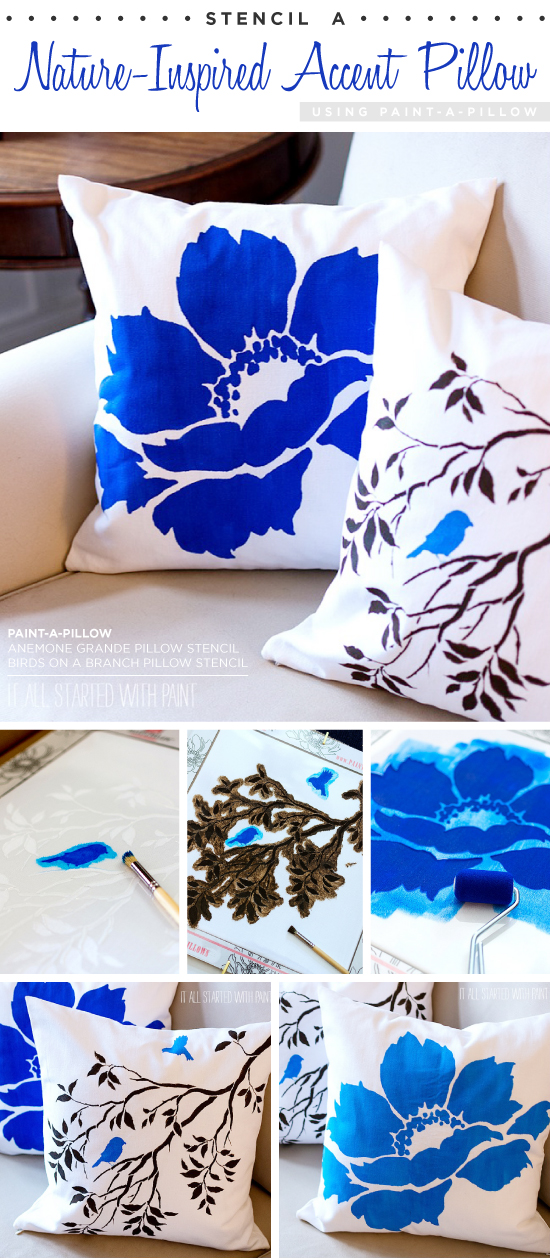 Cutting Edge Stencils shares DIY nature-inspired accent pillows using the Birds on a Branch Paint-A-Pillow kit and Anemone Grande kit. http://paintapillow.com/index.php/birds-on-a-branch-paint-a-pillow-kit.html