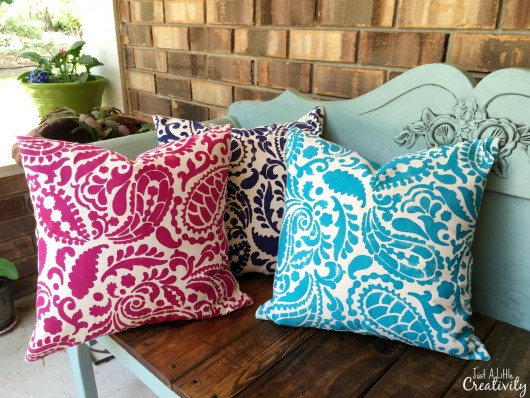 DIY accent pillows in springtime hues using the Paisley Paint-A-Pillow. http://paintapillow.com/index.php/paisleys-paint-a-pillow-kit.html