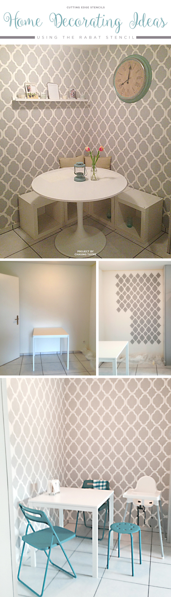 A DIY stenciled accent wall using the Rabat Allover Stencil. http://www.cuttingedgestencils.com/moroccan-stencil-pattern-3.html