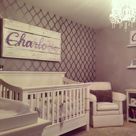 A Diy Stenciled Nursery Accent Wall Using The Rabat Allover Pattern Http