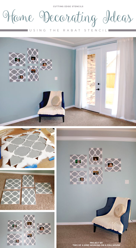 DIY stenciled wall art using the Rabat Stencil painted on canvas and hunt with a frame. http://www.cuttingedgestencils.com/moroccan-stencil-pattern-3.html
