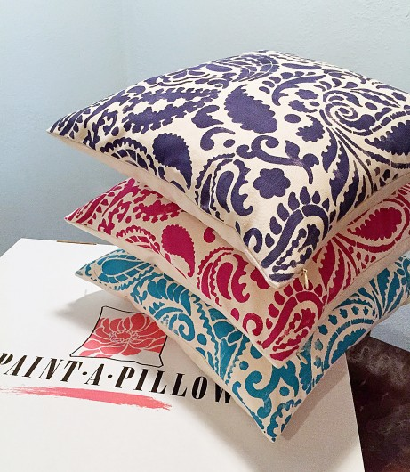 DIY stenciled accent pillows using the Paisley Paint-A-Pillow. http://paintapillow.com/index.php/paisleys-paint-a-pillow-kit.html
