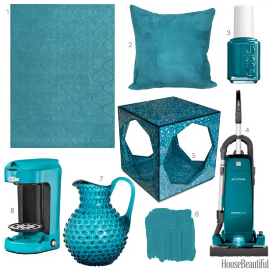 Teal colored home decor from House Beautiful.
