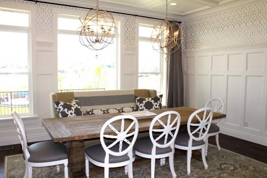 A DIY stenciled dining room using the Trellis Allover Stencil. http://www.cuttingedgestencils.com/allover-stencil.html