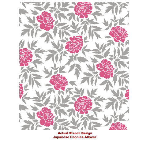 The Japanese Peonies Stencil pattern from Cutting Edge Stencils. http://www.cuttingedgestencils.com/japanese-peonies-floral-stencil-pattern.html