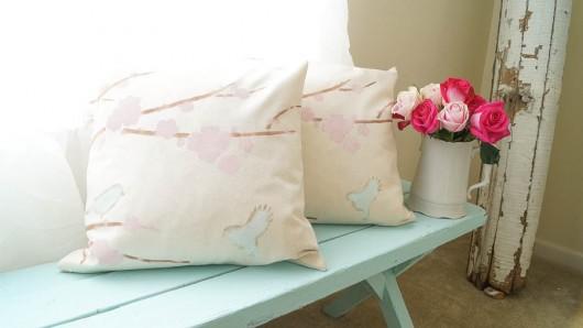 A DIY painted accent pillow using the Sakura and Birds Paint-A-Pillow. http://paintapillow.com/index.php/sakura-and-birids-paint-a-pillow-kit.html