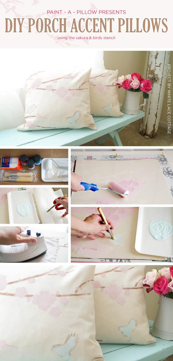 Cutting Edge Stencils shares  DIY painted accent pillows using the Sakura and Birds Paint-A-Pillow kit. http://paintapillow.com/index.php/sakura-and-birids-paint-a-pillow-kit.html