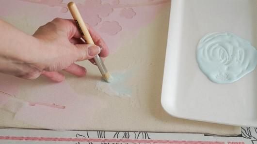 Painting a DIY accent pillow using the Sakura and Birds Paint-A-Pillow. http://paintapillow.com/index.php/sakura-and-birids-paint-a-pillow-kit.html