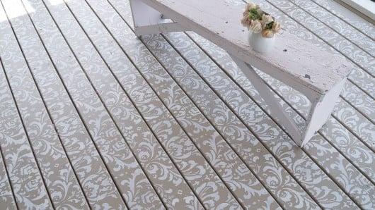 A DIY stenciled deck floor using the Anna Damask Stencil pattern. http://www.cuttingedgestencils.com/damask-stencil.html