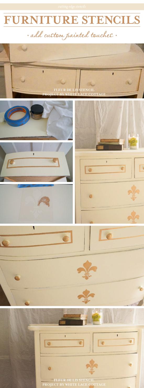 A Diy Stenciled Dresser Using The Fleur De Lis Stencil Http Www