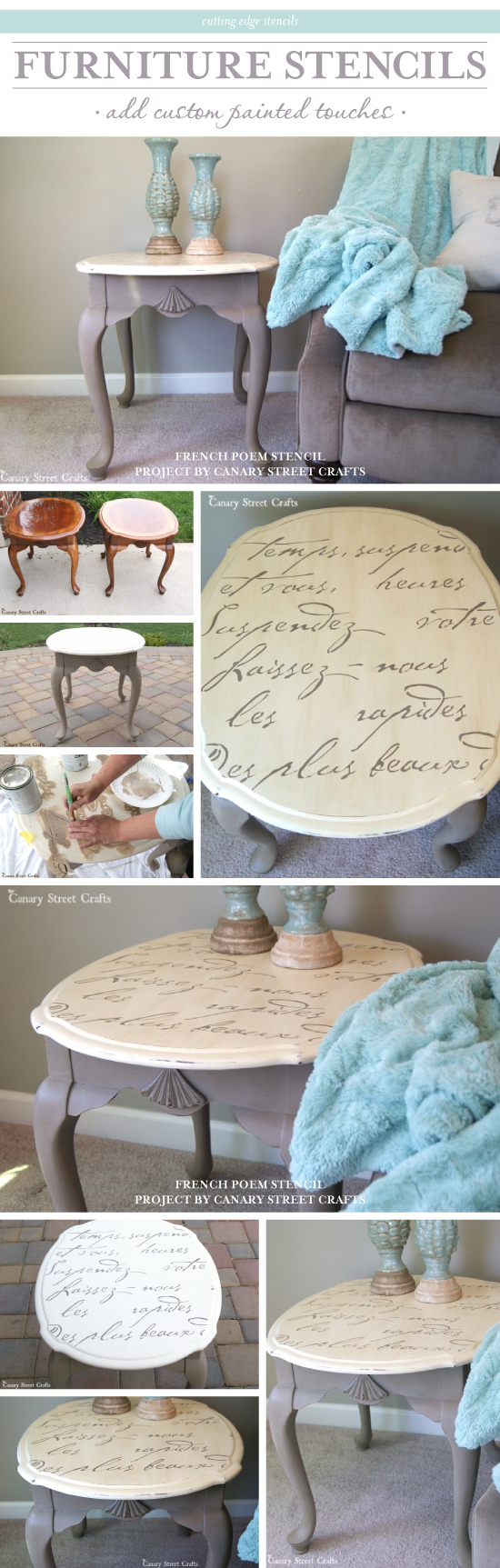 A Diy Stenciled Side Table Using The French Poem Allover Stencil