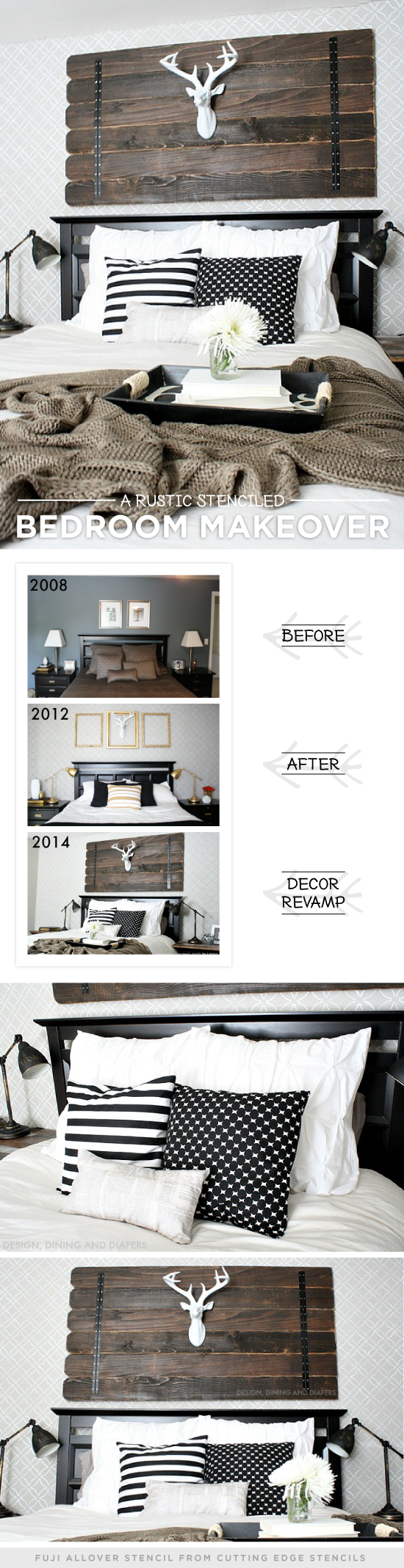 Cutting Edge Stencils share a DIY rustic and cozy stenciled master bedroom using the Fuji Allover Stencil. http://www.cuttingedgestencils.com/stencil-wall-stencils-fuji.html