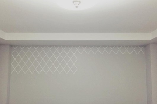 Stenciling a master bedroom accent wall using the Harlequin Trellis pattern. http://www.cuttingedgestencils.com/trellis-stencil-harlequin.html