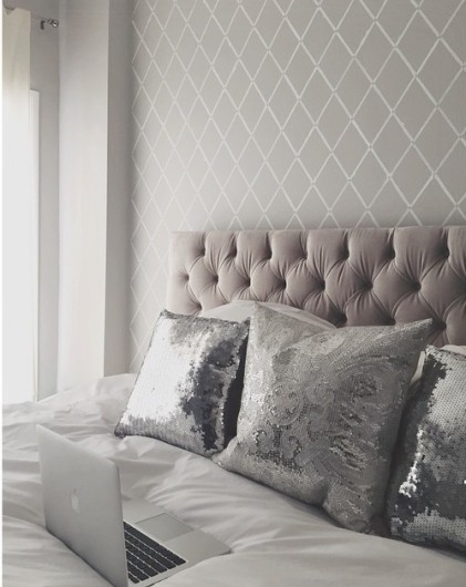 A DIY stenciled bedroom accent wall using the Harlequin Trellis Allover Stencil. http://www.cuttingedgestencils.com/trellis-stencil-harlequin.html