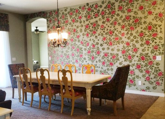 A DIY stenciled accent wall in a dining room using the Japanese Peonies Allover pattern. http://www.cuttingedgestencils.com/japanese-peonies-floral-stencil-pattern.html