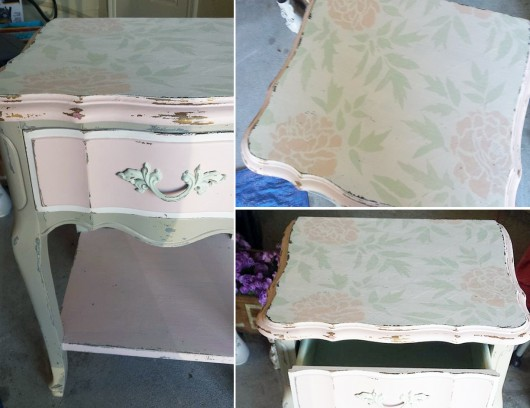 A DIY stenciled dresser using the Japanese Peonies Allover Stencil. http://www.cuttingedgestencils.com/japanese-peonies-floral-stencil-pattern.html