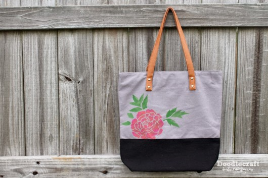 A DIY stenciled tote bag using the Japanese Peonies Allover Stencil. http://www.cuttingedgestencils.com/japanese-peonies-floral-stencil-pattern.html
