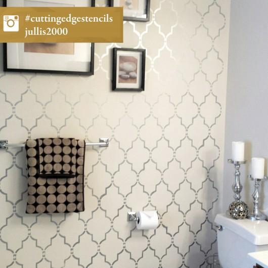 A DIY stenciled accent wall in a bathroom using the Marrakech Trellis Stencil. http://www.cuttingedgestencils.com/moroccan-stencil-marrakech.html