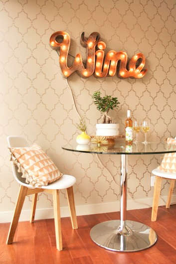 A DIY stenciled accent wall in a wine nook using the Marrakech Trellis Stencil. http://www.cuttingedgestencils.com/moroccan-stencil-marrakech.html
