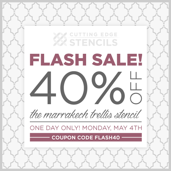 Flash Sale: Today only take 40% off the Marrakech Trellis Allover Stencil from Cutting Edge Stencils. http://www.cuttingedgestencils.com/moroccan-stencil-marrakech.html