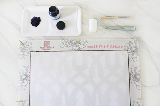 Learn how to stencil DIY accent pillows using Paint-A-Pillow. http://paintapillow.com/index.php/trellis-paint-a-pillow-kit.html