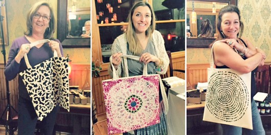 DIY stenciled tote bags using the Paint-A-Pillow kit. http://paintapillow.com/index.php/paint-a-pillow-6-pillow-party-kit.html