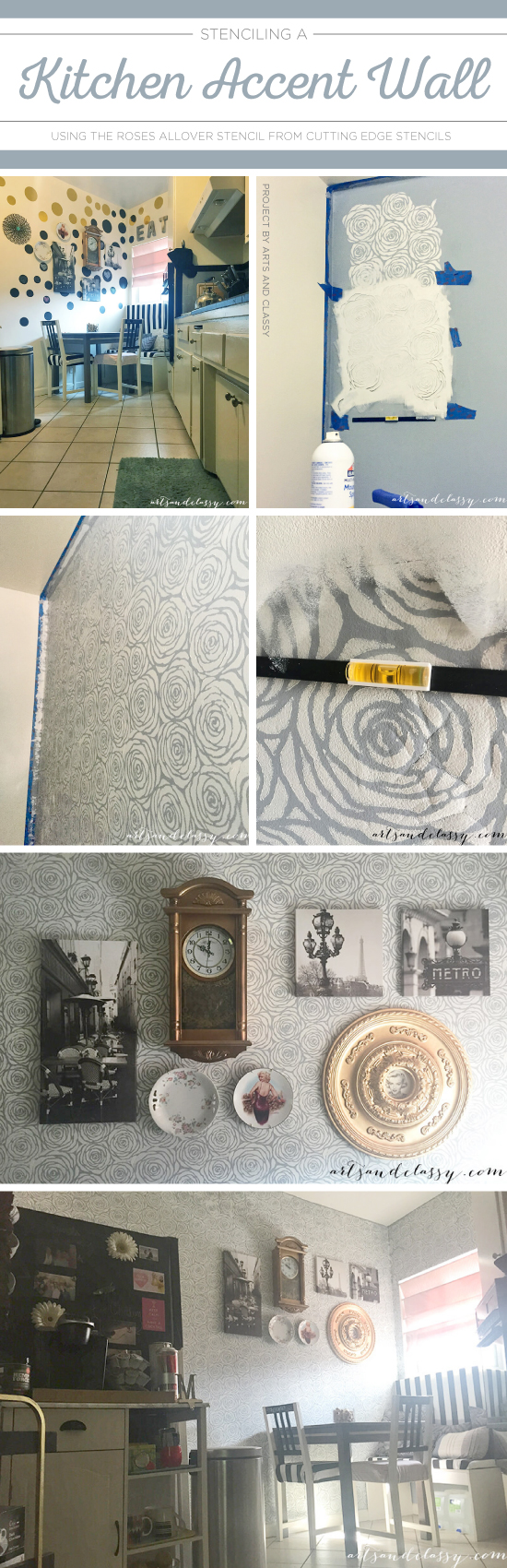 Cutting Edge Stencils shares a DIY kitchen accent wall using the Roses Allover Stencil in gray. http://www.cuttingedgestencils.com/roses-stencil-pattern-rose-design.html