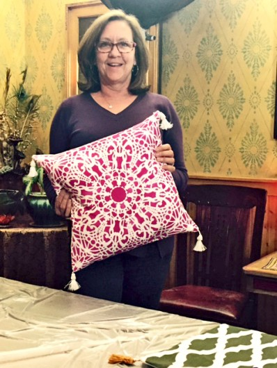 A DIY stenciled accent pillow using the Stephanie's Lace Paint-A-Pillow kit. http://paintapillow.com/index.php/stephanie-s-lace-paint-a-pillow-kit.html