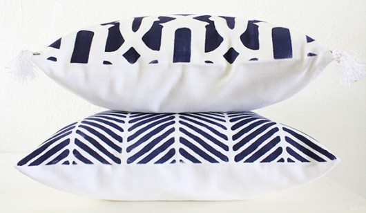 DIY stenciled accent pillows using the Trellis Paint-A-Pillow kit in navy. http://paintapillow.com/index.php/trellis-paint-a-pillow-kit.html