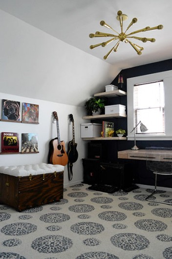 A DIY stenciled carpet idea using the Antico Allover Stencil. http://www.cuttingedgestencils.com/antico-allover-wall-pattern.html