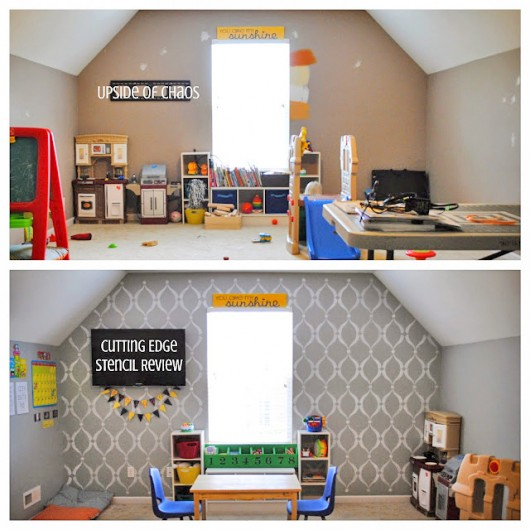 A before and after of a stenciled playroom using the Sweet Dreams Stencil on an accent wall. http://www.cuttingedgestencils.com/stencil-dreams.html