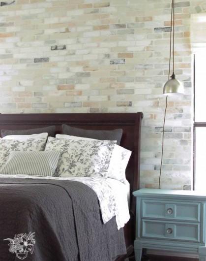 Cutting Edge Stencils shares a realistic DIY stenciled accent wall using the Brick Allover Stencil. http://www.cuttingedgestencils.com/bricks-stencil-allover-pattern-stencils.html
