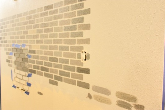 A DIY Stenciled Brick Hallway Accent Wall