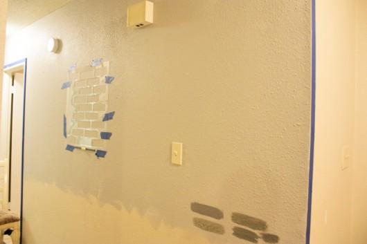 Stenciling a Brick Allover pattern in a hallway. http://www.cuttingedgestencils.com/bricks-stencil-allover-pattern-stencils.html