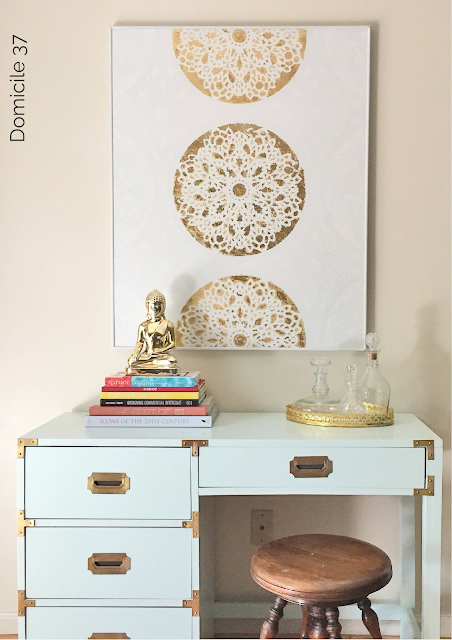 Cutting Edge Stencils shares how to stencil a gold piece of wall art using a lace-inspired pattern, the Charlotte Allover. http://www.cuttingedgestencils.com/charlotte-allover-stencil-pattern.html