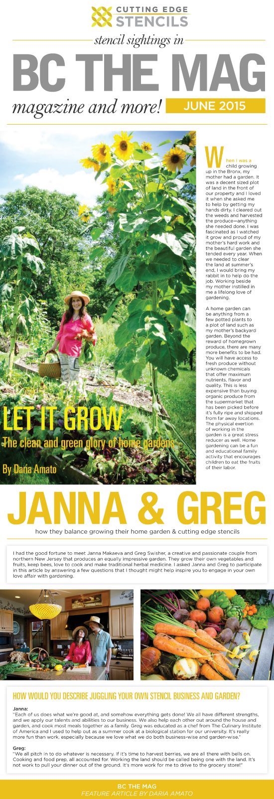 Greg and Janna from Cutting Edge Stencils were featued in Bergen County Magazine for their home garden, beekeeping, and herbal medicine tips. http://www.cuttingedgestencils.com/wall-stencils.html