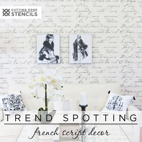 Cutting Edge Stencils shares how to recreate the french typography home decor trend using our wall stencils. http://www.cuttingedgestencils.com/french-poem-typography-letter-stencil.html