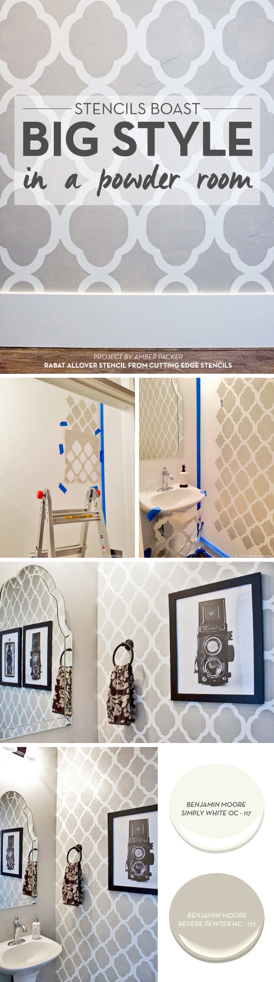Cutting Edge Stencils shares a powder room makeover using the Rabat Allover Stencil in gray and white. http://www.cuttingedgestencils.com/moroccan-stencil-pattern-3.html