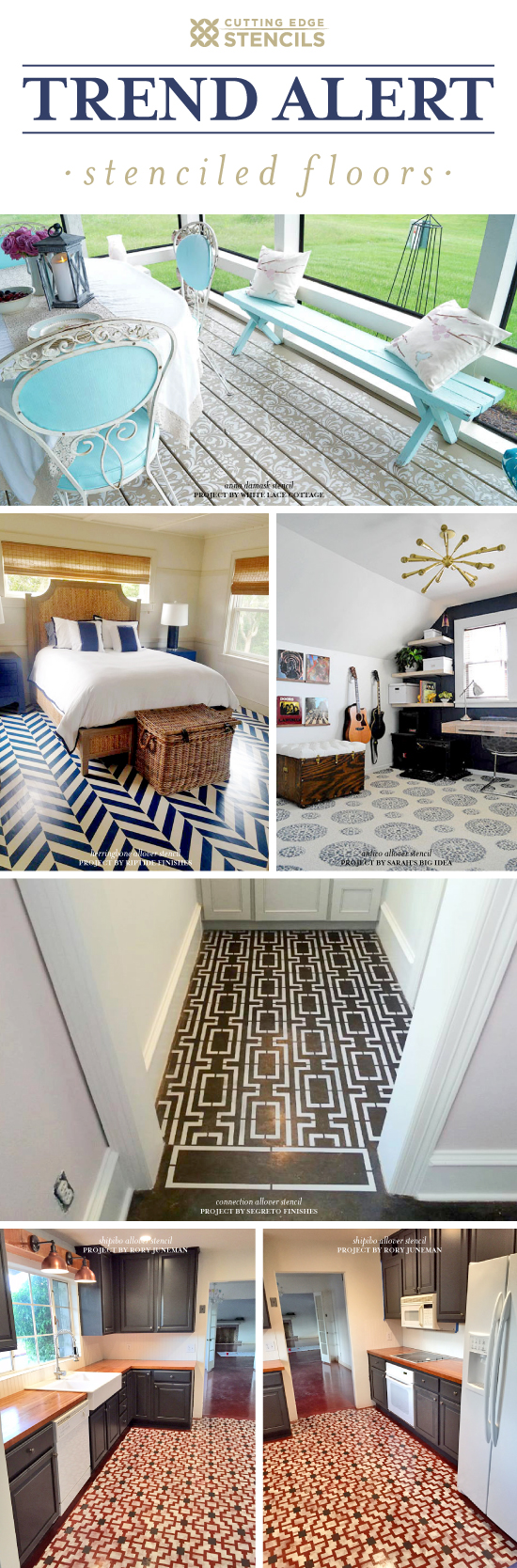 Cutting Edge Stencils shares DIY painted and stenciled floor ideas. http://www.cuttingedgestencils.com/wall-stencils-stencil-designs.html