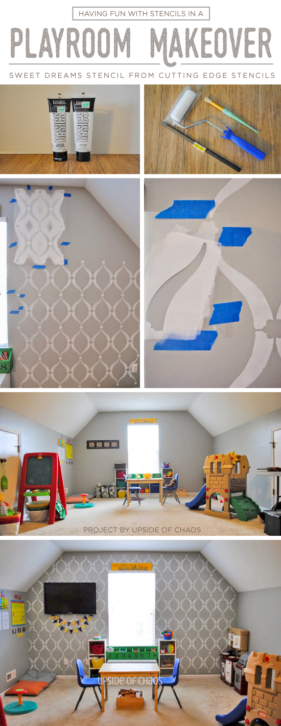 Cutting Edge Stencils shares a DIY stenciled playroom accent wall using the Sweet Dreams Stencil. http://www.cuttingedgestencils.com/stencil-dreams.html