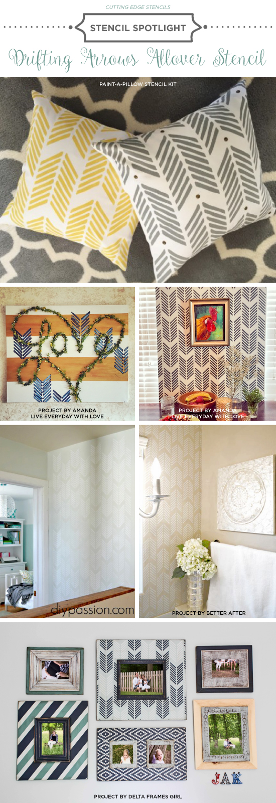 Cutting Edge Stencils shares DIY room ideas featuring the Drifting Arrows Allover wall pattern. http://www.cuttingedgestencils.com/drifting-arrows-stencil-pattern-diy-decor.html