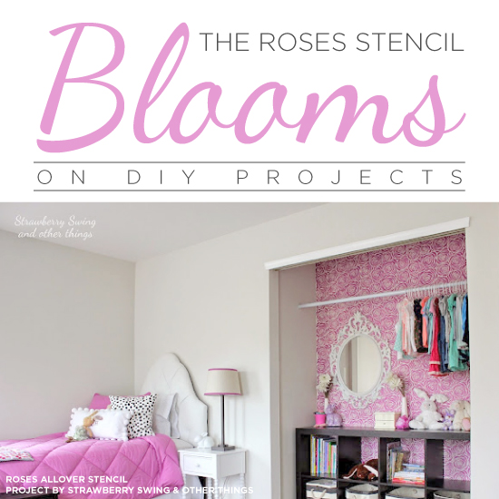 Cutting Edge Stencils shares easy DIY home decor projects featuring the Roses Allover Stencil. http://www.cuttingedgestencils.com/roses-stencil-pattern-rose-design.html